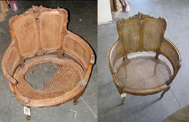 A before and after. The left image shows the damage on the seat and the right shows our finished product.