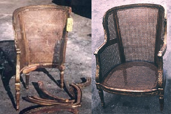 A before and after. The left image shows the damage on the seat and the right shows our finished