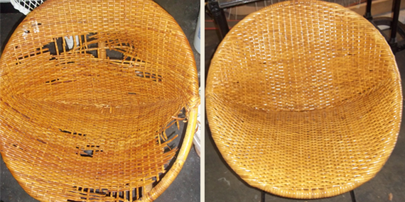 1950s Eames design chair completely rewoven.