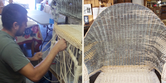 Octavio restoring a 1920s empire arm chair for a famous client of A Wicker Workshop.