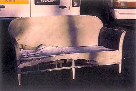 1920s Lloyd Flanders Sofa Damaged